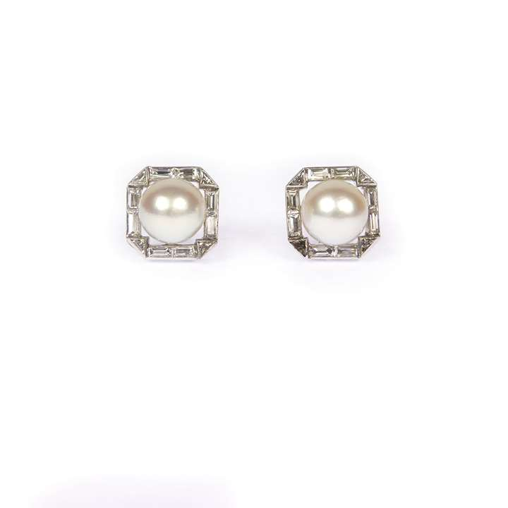 Pair of cream pearl and diamond cluster stud earrings