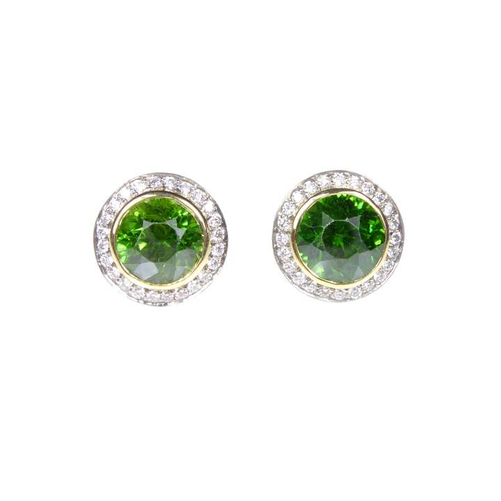 Pair of demantoid garnet and diamond cluster earrings