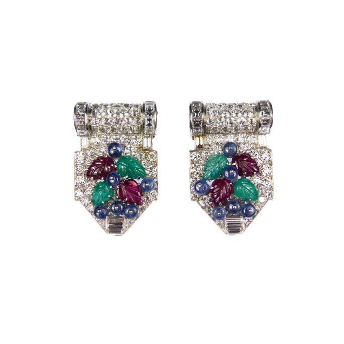 Pair of diamond and carved ruby, emerald and sapphire tutti frutti clip brooches | MasterArt
