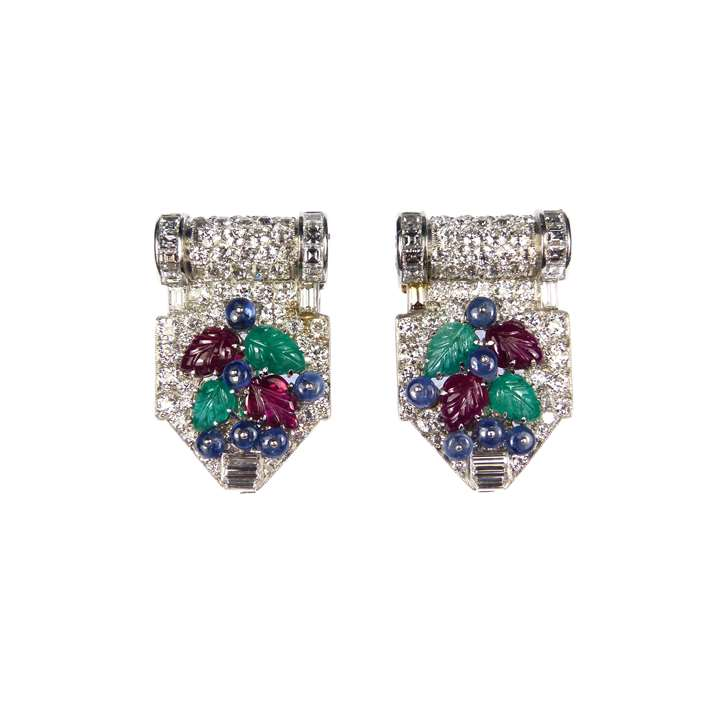 Pair of diamond and carved ruby, emerald and sapphire tutti frutti clip brooches