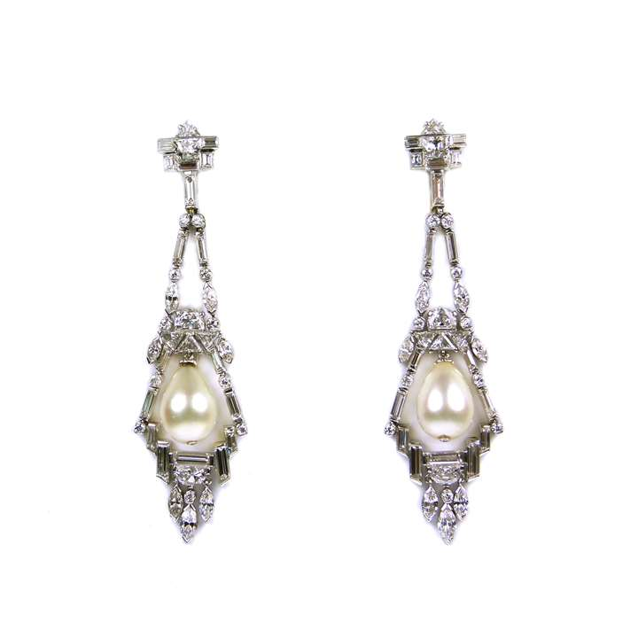 Pair of diamond and drop pearl pendant earrings