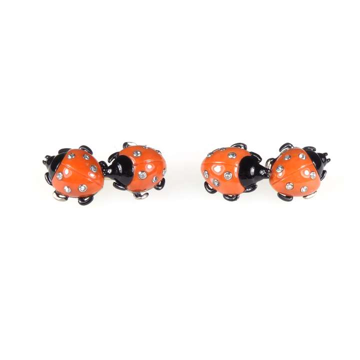 Pair of diamond and enamel ladybird cufflinks