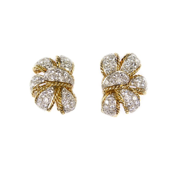 Pair of diamond and gold leaf cluster earrings