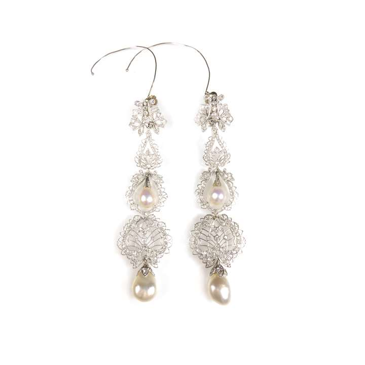 Pair of diamond and pearl long pendant earrings