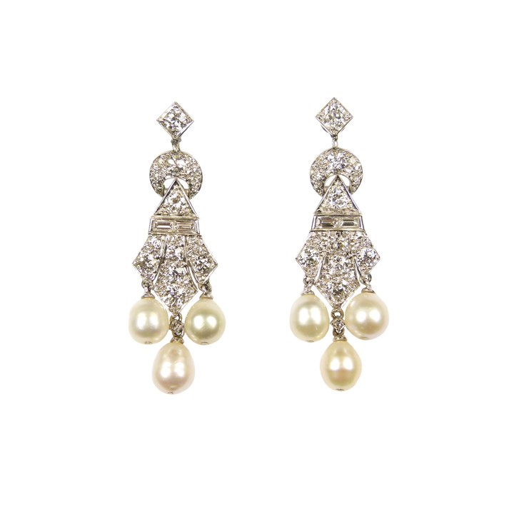 Pair of diamond and pearl triple drop pendant earrings of geometric design