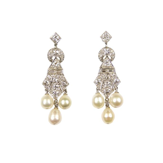 Pair of diamond and pearl triple drop pendant earrings | MasterArt
