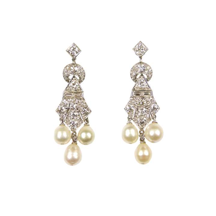 Pair of diamond and pearl triple drop pendant earrings