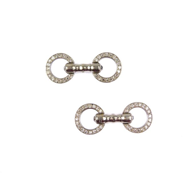 Cartier - Pair of diamond and platinum circular dumbbell cufflinks | MasterArt