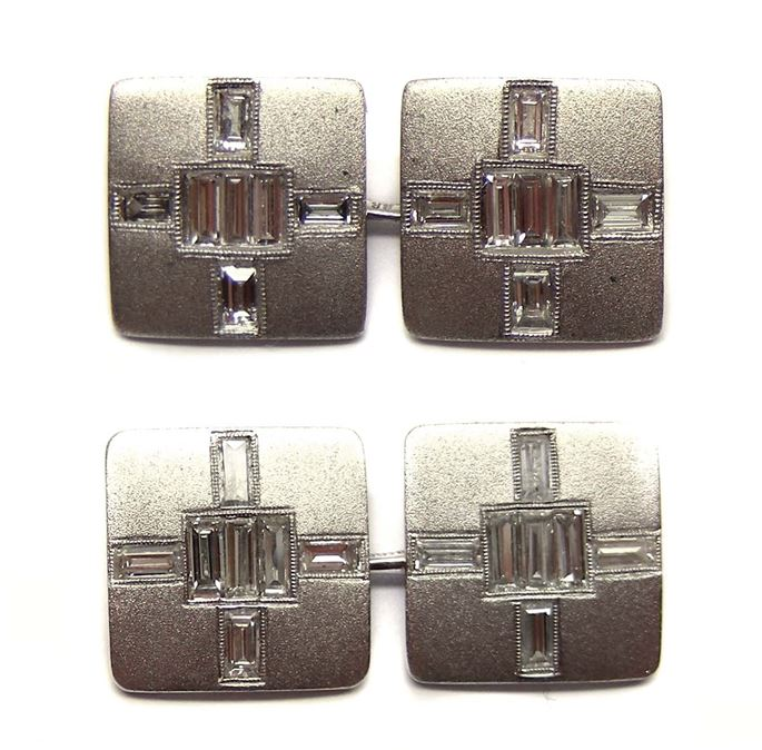 Pair of diamond and platinum square panel cufflinks | MasterArt