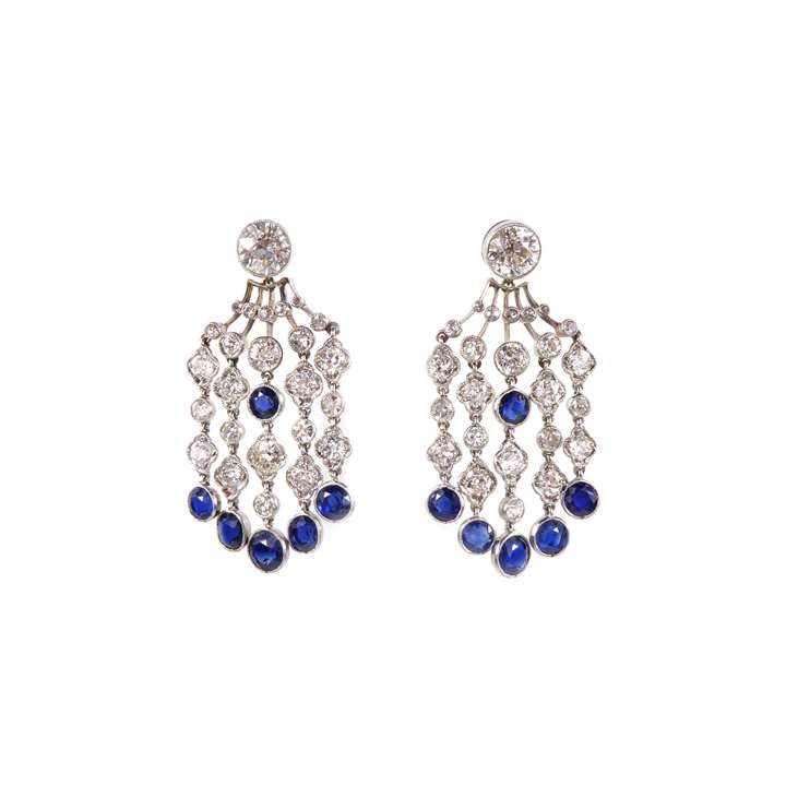 Pair of diamond and sapphire fringe pendant earrings