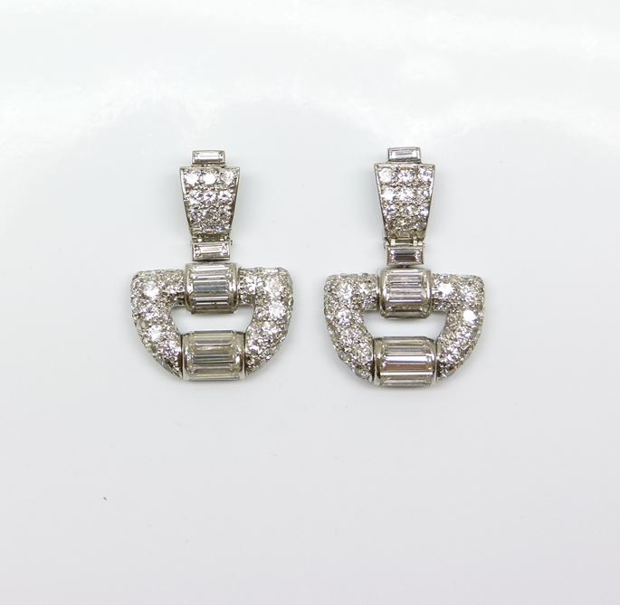 Cartier - Pair of diamond buckle motif pendant earrings | MasterArt