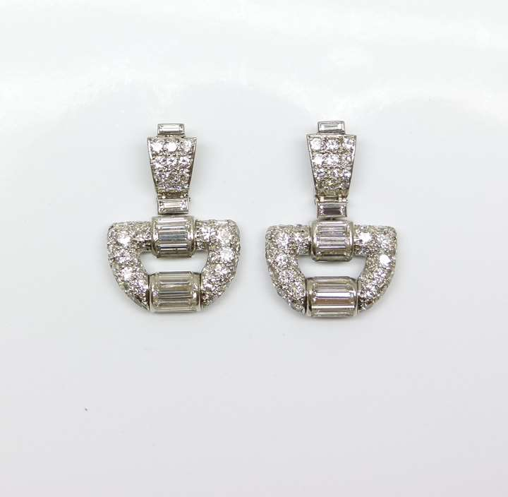 Pair of diamond buckle motif pendant earrings