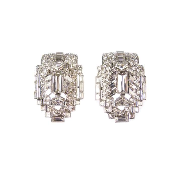 Pair of diamond clip brooches of geometric design
