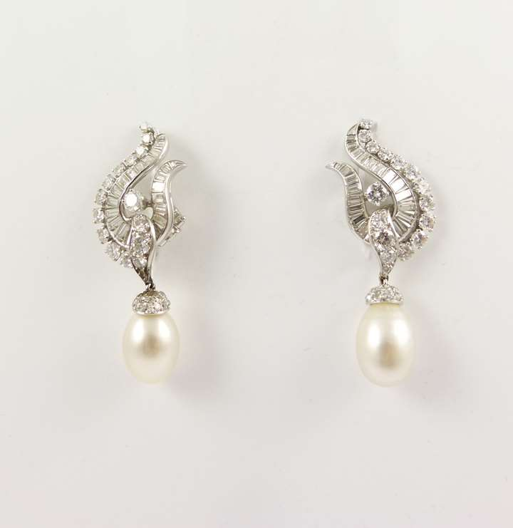 Pair of diamond cluster and natural pearl drop pendant earrings