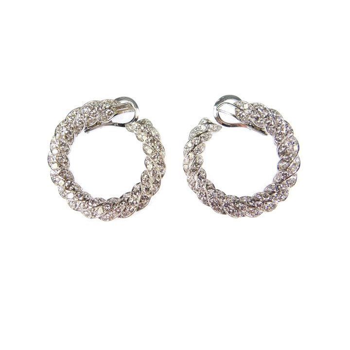 Pair of diamond cluster hoop earrings