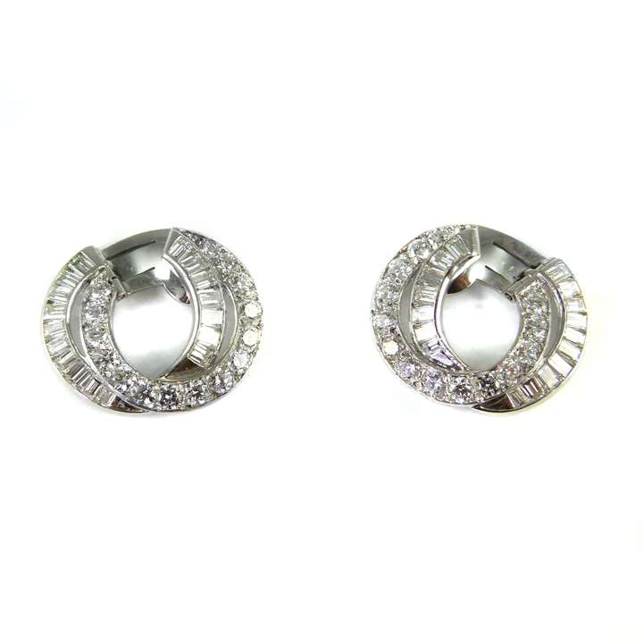Pair of diamond hoop earrings