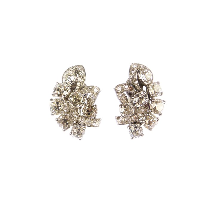 Pair of diamond leaf cluster earrings