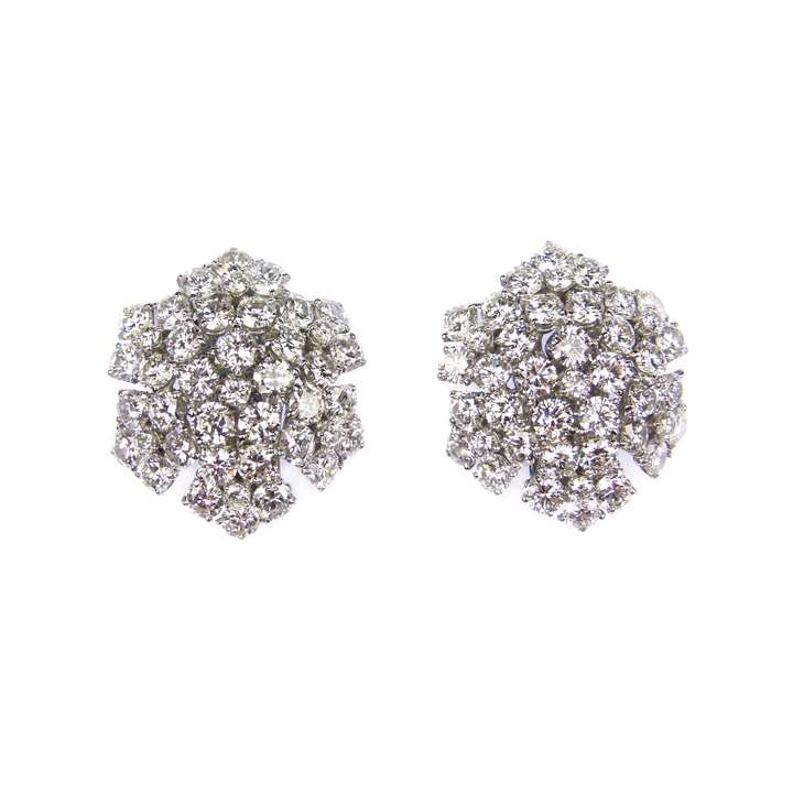 Pair of diamond snowflake cluster earrings