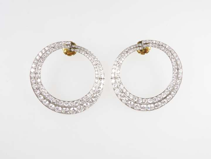 Pair of diamond two row graduated hoop earrings