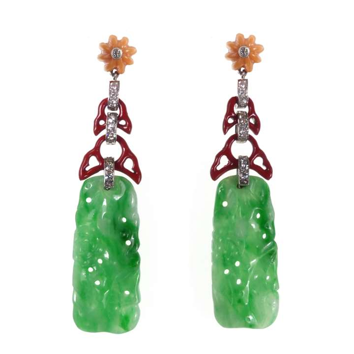 Pair of diamond, enamel and jade panel pendant earrings