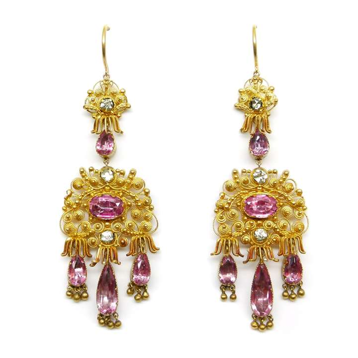 Pair of early 19th century cannetille gold and pink foiled topaz pendant earrings