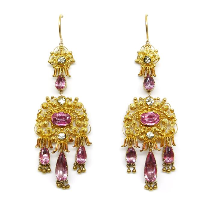 Pair of cannetille gold and pink foiled topaz pendant earrings | MasterArt
