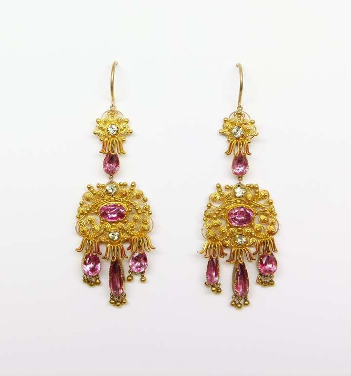 Pair of  cannetille gold and pink foiled topaz pendant earrings