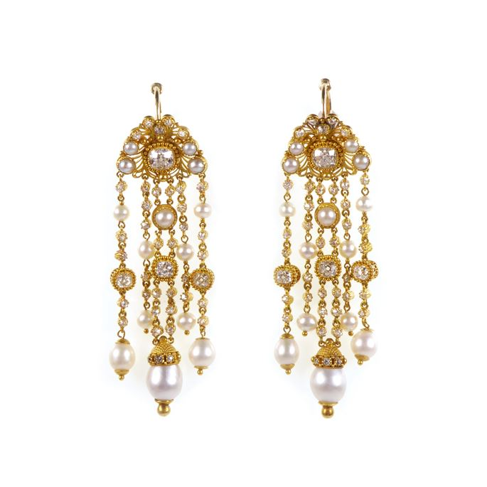 Pair of diamond, pearl and gold cannetille fringe pendant earrings, formerly part of the Bathurst Jewels | MasterArt