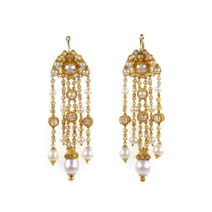 Pair of diamond, pearl and gold cannetille fringe pendant earrings, formerly part of the Bathurst Jewels
