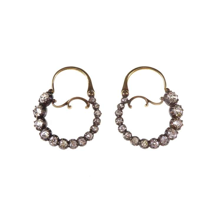 Pair of early graduated diamond hoop earrings