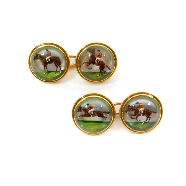Pair of early 20th century 'Essex' crystal horse racing cufflinks