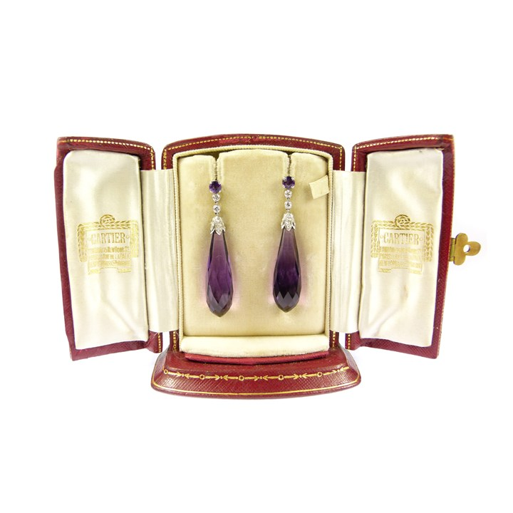 Pair of early 20th century amethyst and diamond pendant earrings