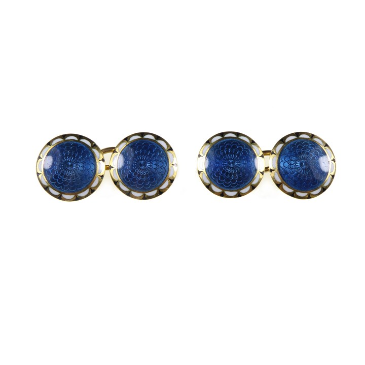 Pair of early 20th century blue and white guilloche enamel round panel cufflinks