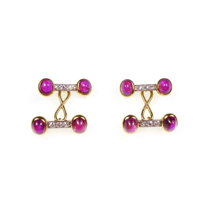 Pair of  cabochon ruby and diamond cufflinks by Tiffany