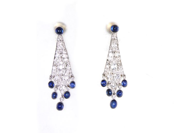 Pair of early 20th century diamond and cabochon sapphire lozenge pendant earrings | MasterArt