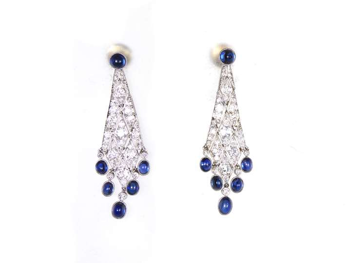 Pair of early 20th century diamond and cabochon sapphire lozenge pendant earrings