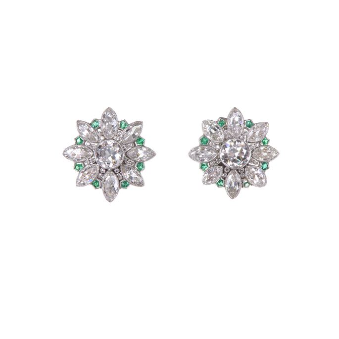 Pair of diamond and emerald earrings of flowerhead cluster design | MasterArt