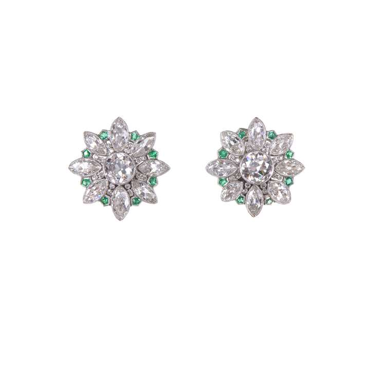 Pair of diamond and emerald earrings of flowerhead cluster design