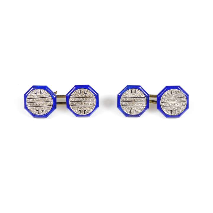 Pair of early 20th century diamond and lapis lazuli octagonal cufflinks