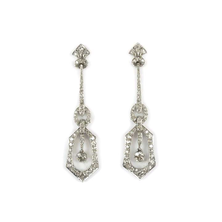 Pair of early 20th century diamond pendant earrings