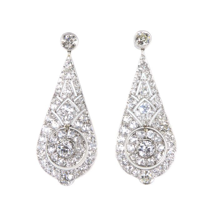 Pair of diamond teardrop panel pendant earrings | MasterArt
