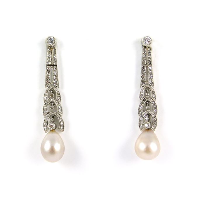 Pair of early 20th century drop pearl and diamond pendant earrings | MasterArt