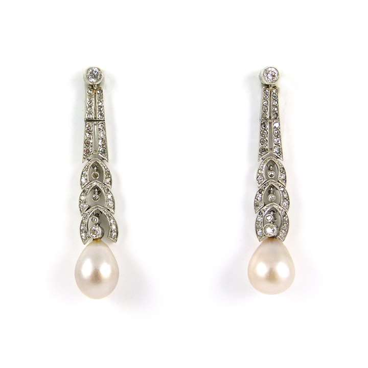 Pair of early 20th century drop pearl and diamond pendant earrings