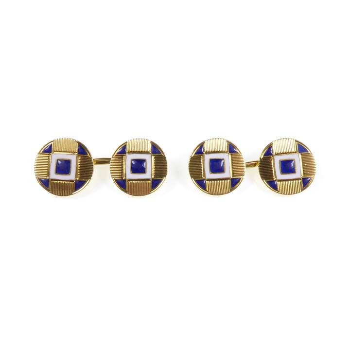 Pair of  enamel and gold cufflinks