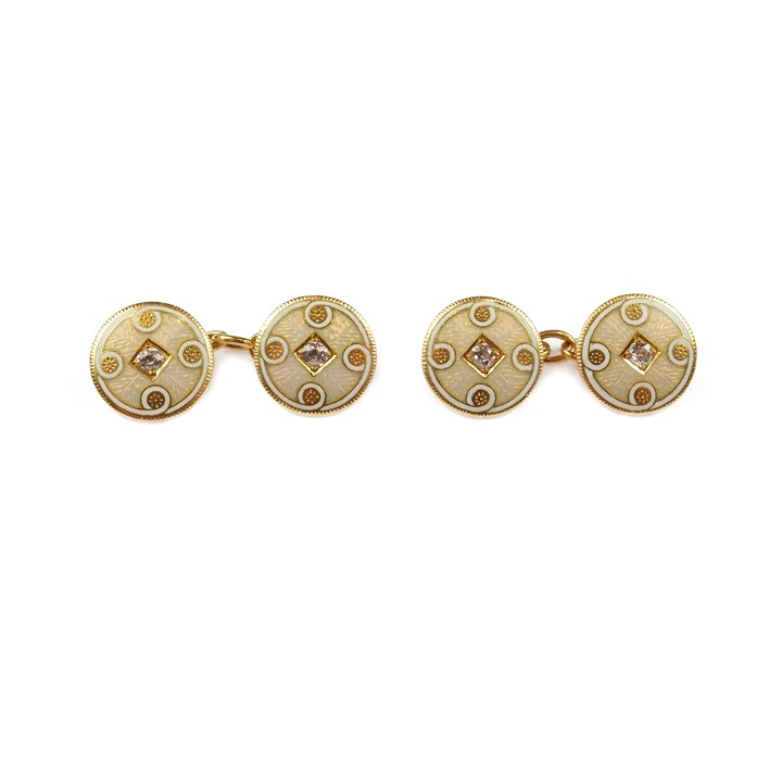 Pair of early 20th century gold, enamel and diamond round panel cufflinks