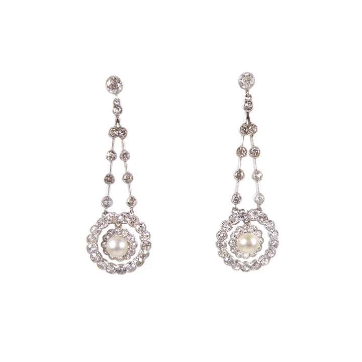 Pair of  pearl and diamond cluster pendant earrings
