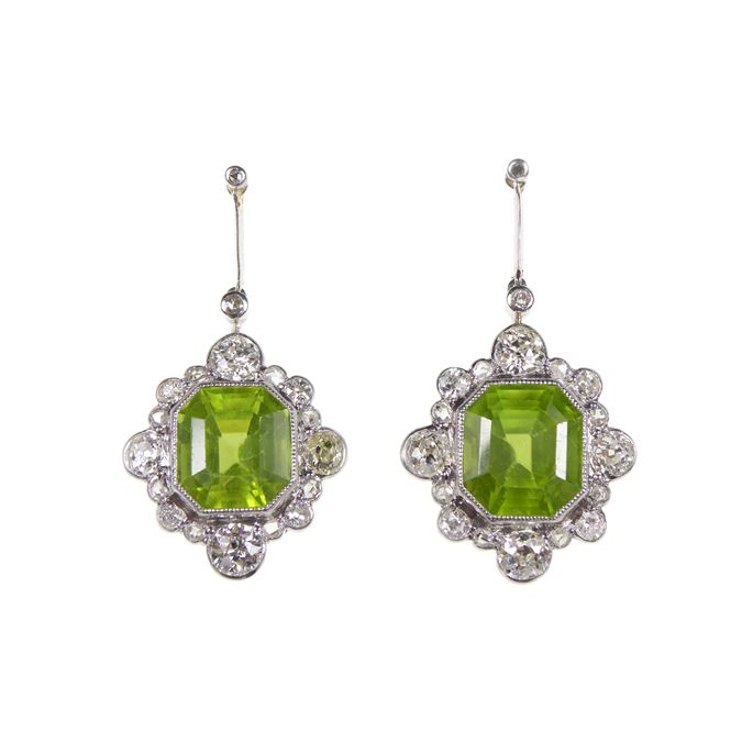 Pair of early 20th century peridot and diamond cluster pendant earrings | MasterArt