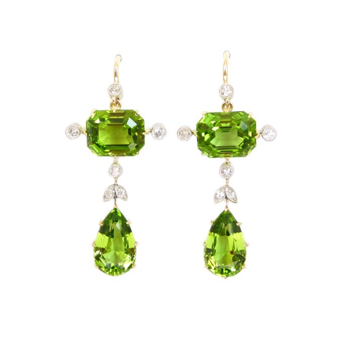 Pair of early 20th century peridot and diamond pendant earrings | MasterArt