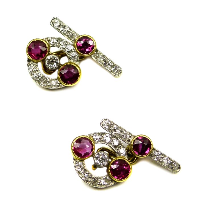 Pair of early 20th century ruby and diamond cufflinks