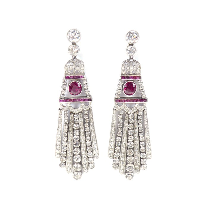Pair of early 20th century ruby and diamond fringe pendant earrings